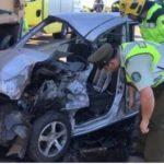 Una persona atrapada deja colisión entre dos camiones y un automóvil sobre el puente Malleco en Angol